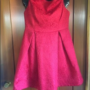 ARK AND CO. RED BROCADE EMPIRE AND OFF SHOULDER L